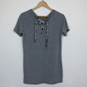 Garage Top Blouse Short Sleeve Gray Sz: M